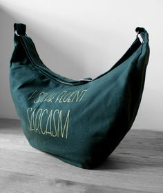 Green Bag Bike Bag Pram Bag I speak fluant sarcasm by KropkaDesign