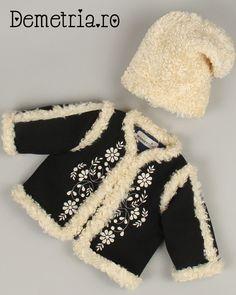 Black wool Demetria coat for little kids