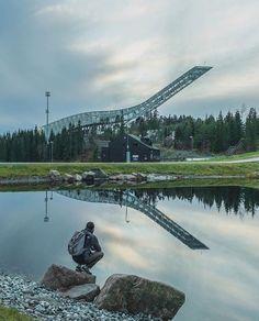 Holmenkollen Skijump waiting for snow. Photo: @stratosferik _________ #Oslo #visitoslo #reflection by visitoslo