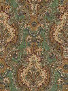 Intricate Moroccan Blue Green Gold Textile Print from the Europa Agean Wallpaper pattern. Check out the Raymond Waites Global Fusion book at AmericanBlinds.com #wallcovering #damask
