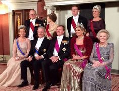 On November 28, 2016, King Willem-Alexander and Queen Maxima of The Netherlands, Queen Mathilde and King Philippe, former Queen Beatrix, Professor Pieter van Vollenhoven, Princess Margriet, Prince Constantijn and his wife Princess Laurentien attended state gala dinner held at Royal Palace in Amsterdam.