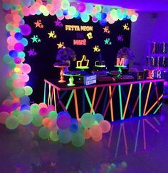 Ideas for Neon and Glow Parties Bar Mitizvah Bat Mitzvah Teen Parties Quinceane. Ideas for Neon and Glow Parties Bar Mitizvah Bat Mitzvah Teen Parties Quinceanera Neon Birthday, 13th Birthday Parties, Birthday Party For Teens, Sleepover Party, Birthday Party Decorations, Birthday Ideas, Neon Decorations, 16th Birthday, Spa Party