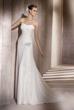Manuel Mota for Pronovias Wedding Dresses Photos on WeddingWire..very flattering ruche on bodice and plenty of support