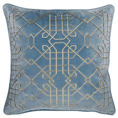 高档绒布绣花抱枕 沙发靠垫靠枕 欧式现代新古典百搭米色蓝色包邮