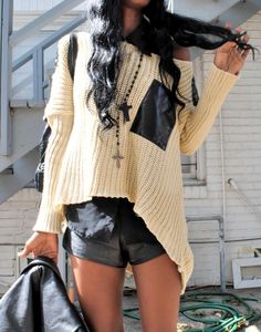 This sweater is really adorable. The leather look is also really pretty. They clash in the perfect way!