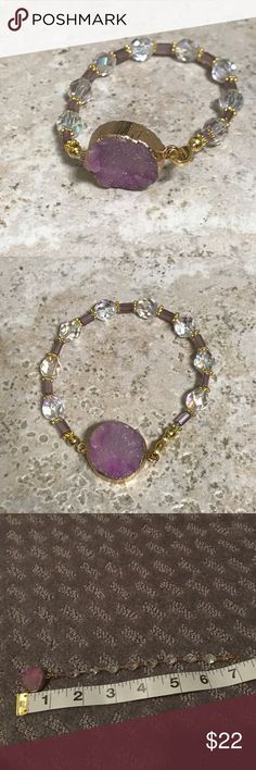 """Pink and Gold Druzy Bracelet Handmade in West Palm Beach, FL. Each item is unique and one of a kind. Beautiful Druzy bracelet with gold accents! Clasp closure. Approx length of 7"""". Jewelry Bracelets"""