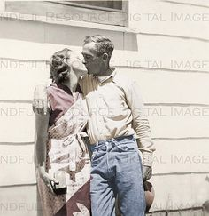 Couple's Kiss 1940s Vintage Snapshot Polaroid by mindfulresource