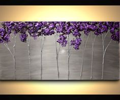 Original Abstract Contemporary Purple Silver by OsnatFineArt
