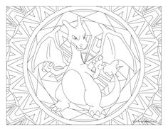 Adult Pokemon Coloring Page  Charizard