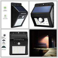 6-16LED Solar PIR Motion Sensor Wall Security Light Outdoor Waterproof Garden #LightStan