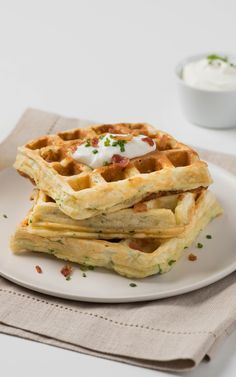 Mashed Potato and Chive Waffles. Combine sweet and savory .with some chive waffles by using the Oster roaster