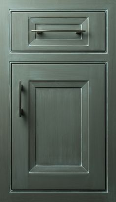 Illusion door in Maple with Shadow Gray finish #cabinets #doors