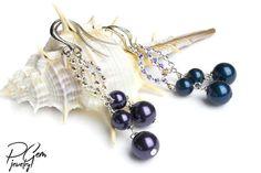 Swarovski Pearl Beads Long Earrings Swarovski Crystal Dangle