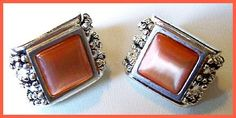 Vintage Frosted Orange Peach Glass Earrings by BrightgemsTreasures, $7.50