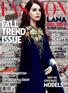 The cover of Fashion magazine featuring Lana Del Rey in a Blumarine long woolen cape with lamé floral inserts. • FASHION, Canada - September 2014