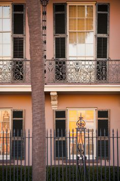 Windows and Ironwork at Sunrise, Charleston, SC © Doug Hickok All Rights Reserved More here. hue and eye Historic Charleston Sc, Charleston Style, Antebellum Homes, Eye Photography, Low Country, Alter, French Doors, New Day, South Carolina