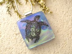 Sea Turtle Necklace  Fused Glass Pendant   Dichroic by ccvalenzo, $30.00