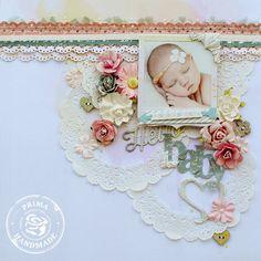 Hello Baby #layout by Delaina Burns #scrapbook