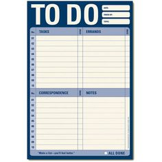 We've all got one and now it can be easily monitored updated and edited with a To Do List Notepad.  This handy stationary is essential for more efficient and organized productivity around the home and office and can help alleviate the stress of procrastination.To Do List Stationary FeaturesLarge six by nine inch