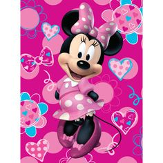 "Disney Minnie Mouse Flower and Heart 46"" x 60"" Micro Raschel Throw Nicholasville Store"