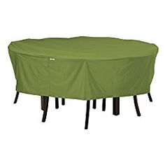 Classic Accessories Sodo Patio/Outdoor Table & Chair Set Cover – Tough and Weather Resistant Patio Set Cover, Round, Medium, Herb (55-345-011901-EC)