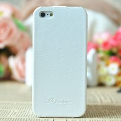 Genuine Flip leather case for iphone 5 White