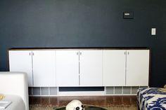 From Ikea: 3 Akurum Wall Cabinets (30×24) 6 Applad Doors 12 Hinges 6 Hinge Dampers (Soft close) 2 Akurum Suspension,  1 Rail, Subtotal: $278   From Home Depot:  Pine Cabinet Plywood, Veneer Screws, Stain, Polycrylic sealer, 6 Liberty Hardware Pulls | Chris Loves Julia