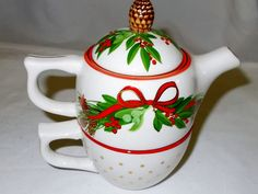 Christmas Teapot Tea For One Holiday Pine by hometowngeneralstore