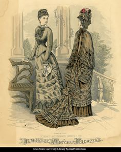 Day dresses, 1878 England, Demorest's Monthly Magazine