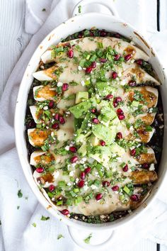 Cheesy Sweet and Sour Pomegranate Thai Chicken Enchiladas Recipe ~ tons and tons and tons of flavor.