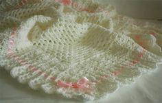 Crochet Baby Blanket / Afghan White Christening, Baptism, Baby Granny Square Crochet Blanket, gift. $35.00, via Etsy.