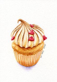 Meringue Muffin ORIGINAL Painting Desset by ForestSpiritArt