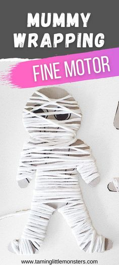 Develop fine motor skills with this yarn wrapped mummy. A fun Halloween activity for preschoolers. #halloween #finemotor #mummy #mummies #preschool Halloween Craft Activities, Mummy Crafts, Yarn Crafts For Kids, Halloween Toys, Halloween Crafts For Kids, Fine Motor Activities For Kids, Preschool Learning Activities, Skull Crafts, Monster Crafts