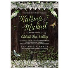 Rustic woodsy wedding invitation with scallop vintage lace trims and wildflowers enhancing the beautiful script lettering that features the bride and groom's names. For weddings amongst nature or couples who love are green, down to earth, hippie or hipster.