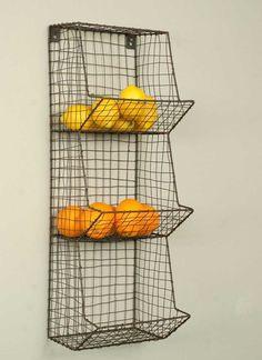 General Store Wall Bin - Cute shabby metal wall basket, fruit or veggie bin - On RustedFarmhouse.com
