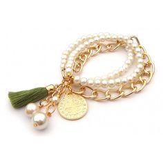 Pulsera con Perlas, Cadena de Aluminio y Medalla de San Benito