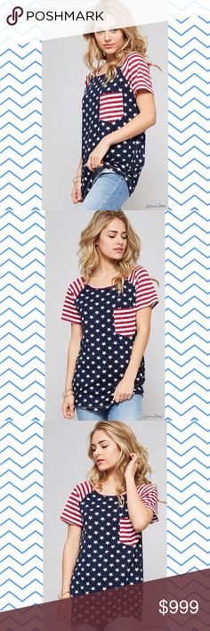 COMING SOON American Flag Print Shirt Perfect for 4th of July! 🇺🇸 Sizes: Small, Medium, Large. Tops Tees - Short Sleeve