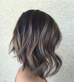 Ash Tone Highlights for Dark Hair - Shoulder Length Hairstyle with Thick Hair