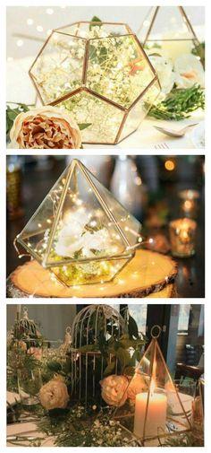 Geometric Glass Terrarium, Modern Planter, Wedding Centerpiece, Air Plant Terrarium, Succulent Planter, Affiliate, Hexagonal Planter