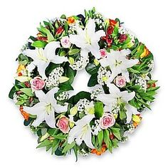 Luxury funeral wreath with lilies.