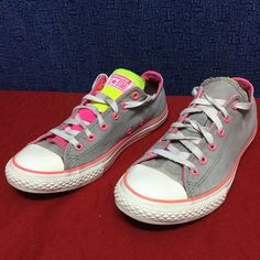 CONVERSE ALL STAR OX . Double . gray/pink . 37.5 7 Minimal wear . . . No issues . . See pics Converse Shoes