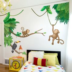 I've just found Jungle Monkey Children's' Wall Sticker Set. Transform your child's bedroom or playroom into a colourful jungle with this fantastic Jungle Monkey wall sticker set! Monkey Bedroom, Baby Bedroom, Kids Bedroom, Boys Jungle Bedroom, Master Bedroom, Safari Nursery, Nursery Art, Kids Rooms, Jungle Wall Stickers