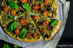 Green pesto vegan pizza