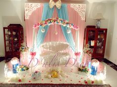 Buaian aqiqah the little mermaid colour pink and tiffany blue Event di Shah Alam Naming Ceremony Decoration, Ceremony Decorations, Flower Decorations, Baby Shower Niño, Baby Shower Princess, Baby Shower Parties, Cradle Decoration, Cradle Ceremony, Baby Swings