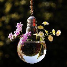 Display pretty blooms in a geek-chic hanging lightbulb vase.