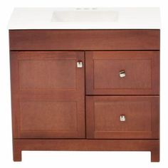 Glacier Bay Artisan 36-1/2 in. W x 19 in. D Vanity in Chestnut with Cultured Marble Vanity Top in White - PPARTCHT36DY - The Home Depot
