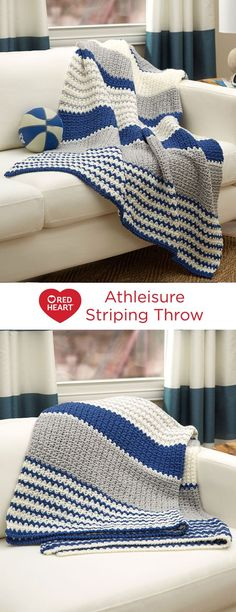 Athleisure Striping Throw Free Crochet Pattern in Red Heart Yarns — Sporty stripes in a cool pattern stitch are perfect for any living area or dorm room space. This crochet throw has a no fri… Crochet Afghans, Baby Blanket Crochet, Crochet Baby, Free Crochet, Knit Crochet, Crochet Throws, Knitted Baby, Crotchet, Chunky Crochet Blanket Pattern Free