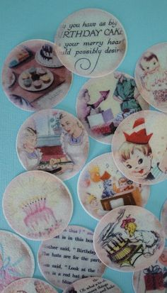 Vintage Birthday Party edible image wafer by QueenofTartsWafers