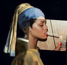 Rihanna x Jan Vermeer Arte Pop, Photomontage, Photoshop, Rihanna, Level Design, Frank Dicksee, Historical Art, Two Faces, Renoir