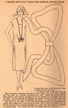 Home Sewing Tips from the 1920s - Adding a Crystal Beaded Accent to Your Chiffon Dinner Frock